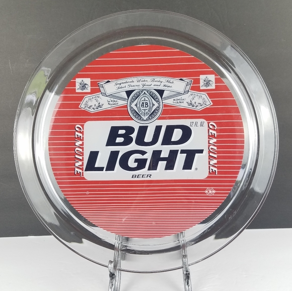 "Budweiser Other - Vintage Bud Light Beer 13"" Glass Serving Tray"